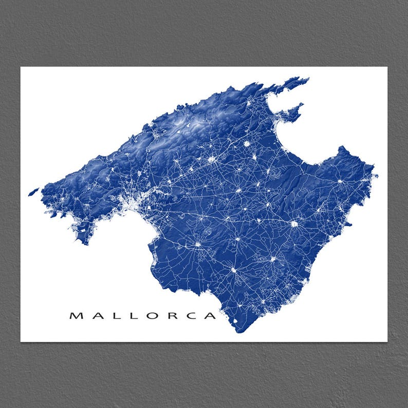Mallorca Map Print Majorca Spain Island Art Prints Etsy