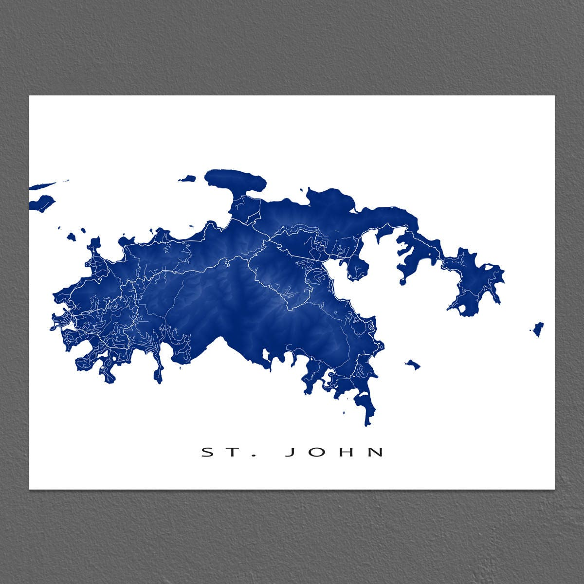 St John Map Print US Virgin Islands Caribbean Island Art