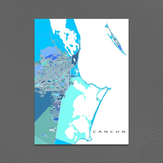 Cancun Map Print Cancun Mexico Art Isla Mujeres Yucatan Etsy
