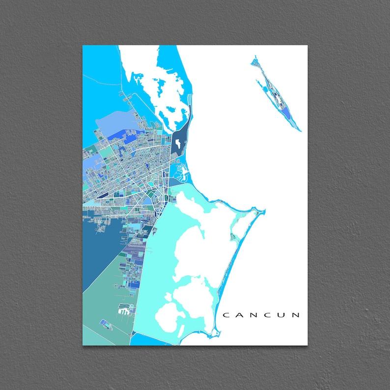 Cancun Map Print Cancun Mexico Art Isla Mujeres Yucatan | Etsy