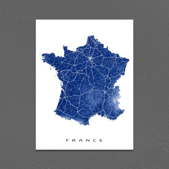 Country Map Of France.France Map Art France Print Europe Country Maps Paris Etsy