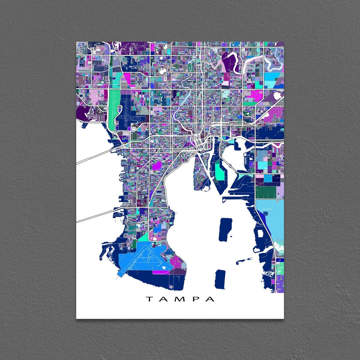tampa map print tampa florida city map art street maps etsy. Black Bedroom Furniture Sets. Home Design Ideas
