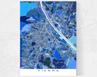Vienna Map Print and Blue Geometric Vienna Poster for Vienna Art Prints and Austria City Street Maps Travel Gifts