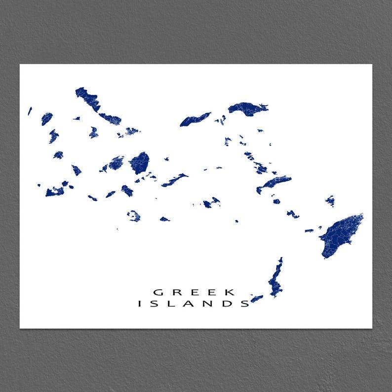 Karte Griechenland Mykonos.Griechischen Inseln Karte Drucken Griechenland Karte Kunst Santorini Mykonos Rhodos