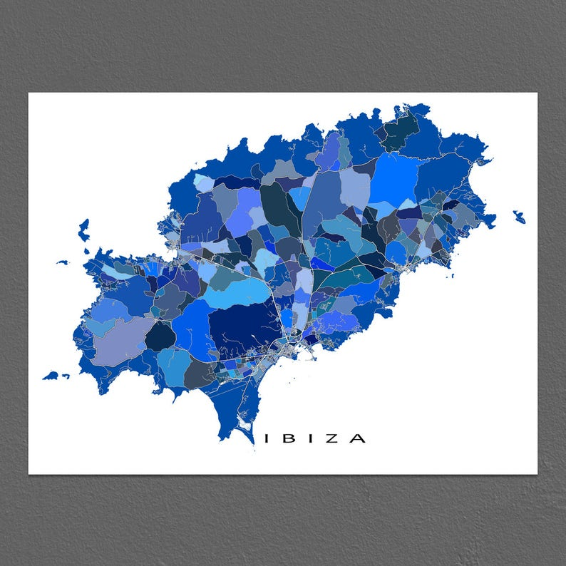 Ibiza Karte Umriss.Ibiza Karte Drucken Spanien Insel Ibiza Karte Kunstwerk