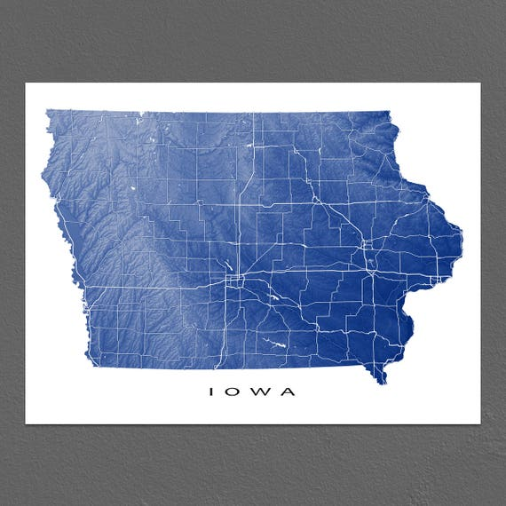 Iowa Map Print Iowa State Art USA Des Moines USA | Etsy Des Moines Map Usa on