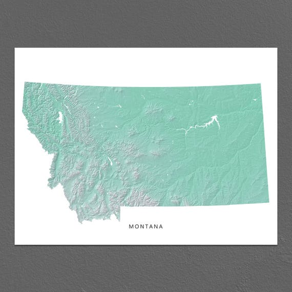 Montana Map Print Montana State Aqua Mt Landscape Art Etsy