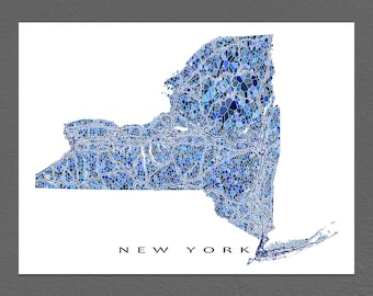 New York Map Print, New York State Art, NY Wall Decor
