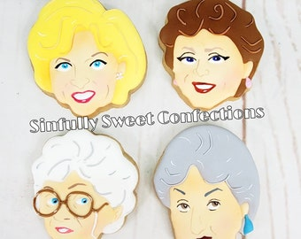 Golden Girls Cookies, Set of 4 Decorated Cookies, Golden Girls Tv Show Inspired Cookies, Rose, Blanche, Dorothy and Sophia Sugar Cookie Set