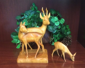 Vintage Russian Buck/Doe/Fawn Wood Carving