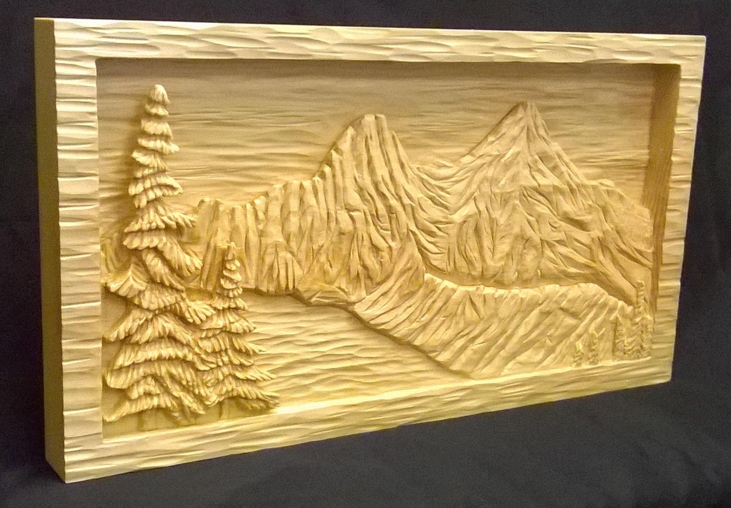 Mountain lake relief carving sugar pine etsy
