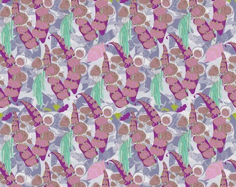 Tina Givens, Piecemeal, Troy Gardens, Purple, floral, abstract, see coordinates, Free Spirit