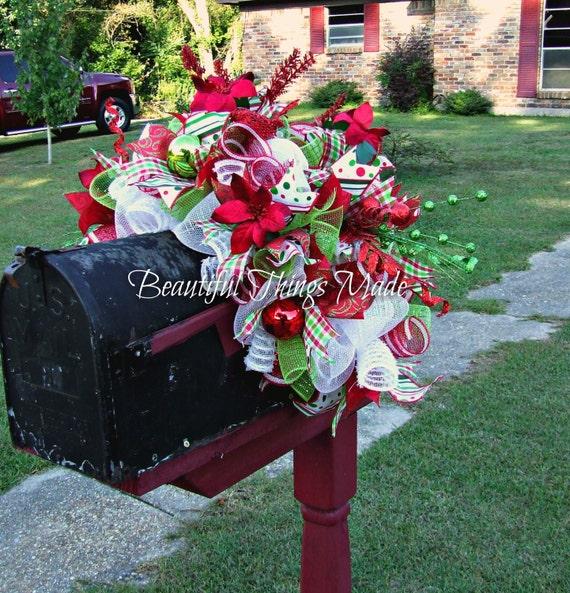 Christmas Mailbox.Christmas Mailbox Swag Mailbox Swag Deco Mesh Mailbox Topper Home Decor Mailbox Cover Custom Made Holiday Decorations