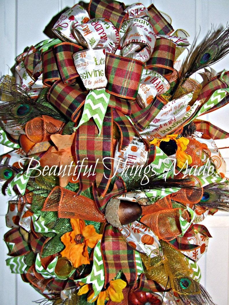 Fall Door Hanger Deco Mesh Wreath Wreath Fall Decor Custom Fall Swag custom Ready to ship hand made swag Front Door Swag Hanger
