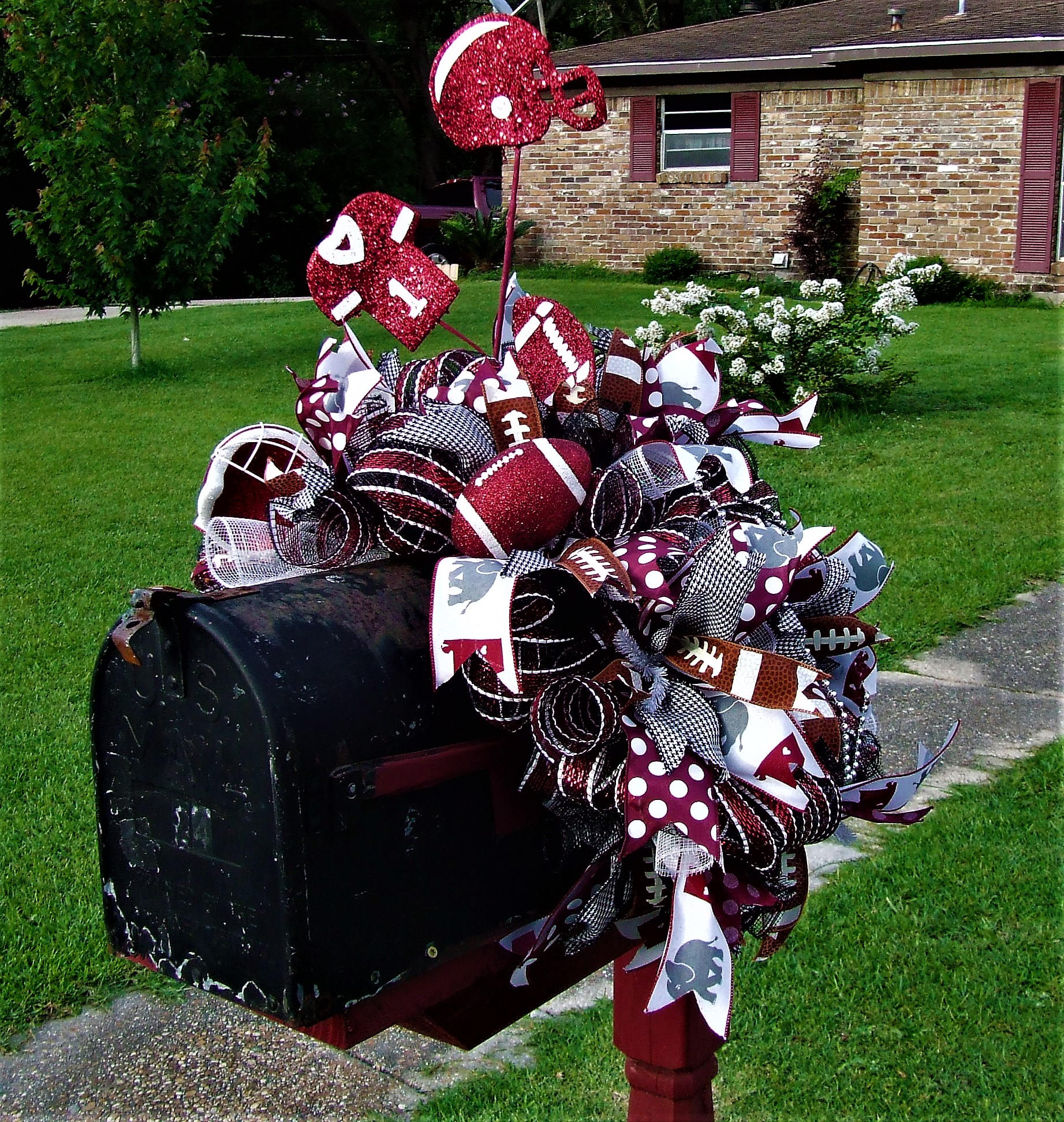 276e23f9bb76 Alabama mailbox swag crimson tide bama deco mesh football etsy christmas  tree football helmet jpg 1843x1944