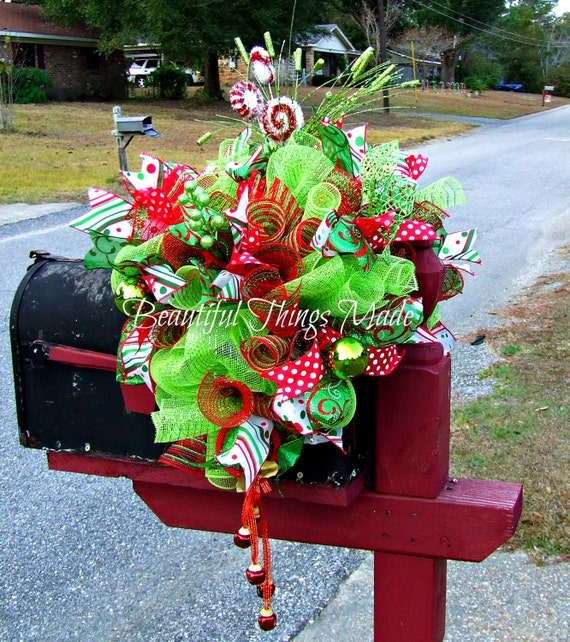 Mailbox Christmas Decorations.Christmas Mailbox Swag Mailbox Swag Deco Mesh Mailbox Topper Home Decor Mailbox Cover Custom Made Holiday Decorations