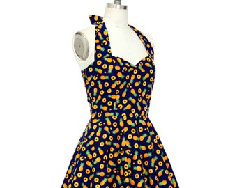 Pineapple Dress Fruit Dress Tropical Dress Birthday Dress Pinup Dress Retro Dress Swing Dress Party Dress Summer Dress Beach Dress Sun Dress