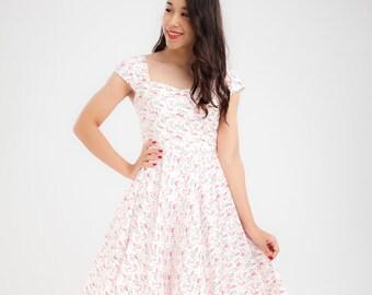 c5fad6d1880 Pink Flamingo Dress Sun Dress Summer Dress Vintage Dress Pin Up Dress Swing  Dress Party Dress Holiday Dress 50s Dress Rockabilly Dress