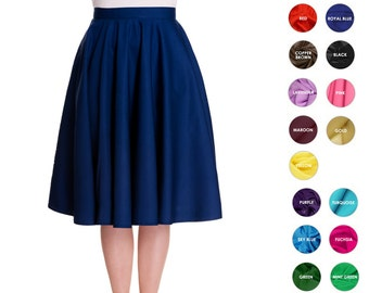Custom Skirt Circle Skirt Midi Skirt Mini Skirt Custom Length with Pockets Swing Skirt Pinup Skirt Party Skirt Plus Size Bridesmaid Skirt