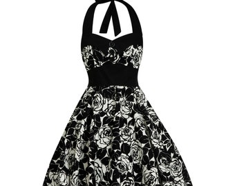 791cbe60f3bb Black Rose Dress Vintage Dress Rockabilly Dress 50s Dress Gothic Dress Pin  Up Dress Retro Swing Dress Prom Party Dress