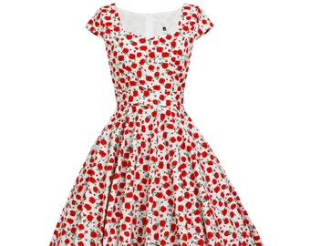 Christmas Dress Floral Red Dress Red Poppy Dress Festive Dress Floral Dress Plus Size Dress Pinup Dress 50s Dress Tea Party Dress Prom Dress