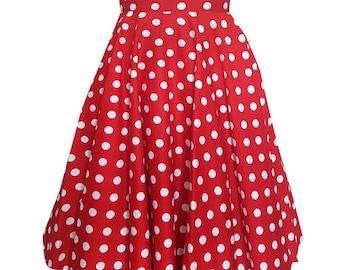2178bf081 Red Christmas Skirt White Polka Dot Skirt Circle Skirt Red Skirt Vintage  Skirt Rockabilly Pin Up Skirt 50s Retro Skirt Swing Party Skirt