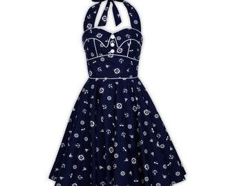 cbe51f84aa34 Nautical Dress Sailor Dress Mini Dress PinUp Dress 50s Vintage Dress Summer Dress  Rockabilly Swing Dress Holiday Dress Retro Party Dress