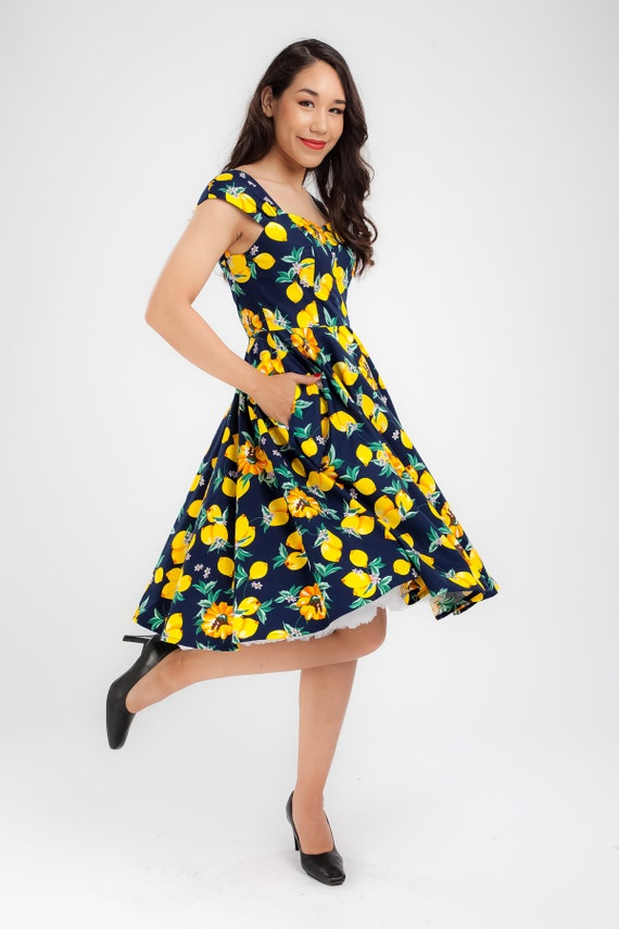 Plus Size Clothing Pin Up Dress Lemon Dress Vintage Dress Swing Dress  Summer Dress Party Dress Holiday Dress 50s Dress Yellow Dress Lemons