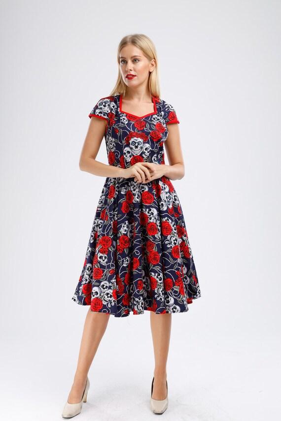 Plus Size Navy Dress Sugar Skull Dress Vintage Dress Retro Pinup Dress  Rockabilly Dress Halloween Dress Party Dress Swing Dress 50s Dress