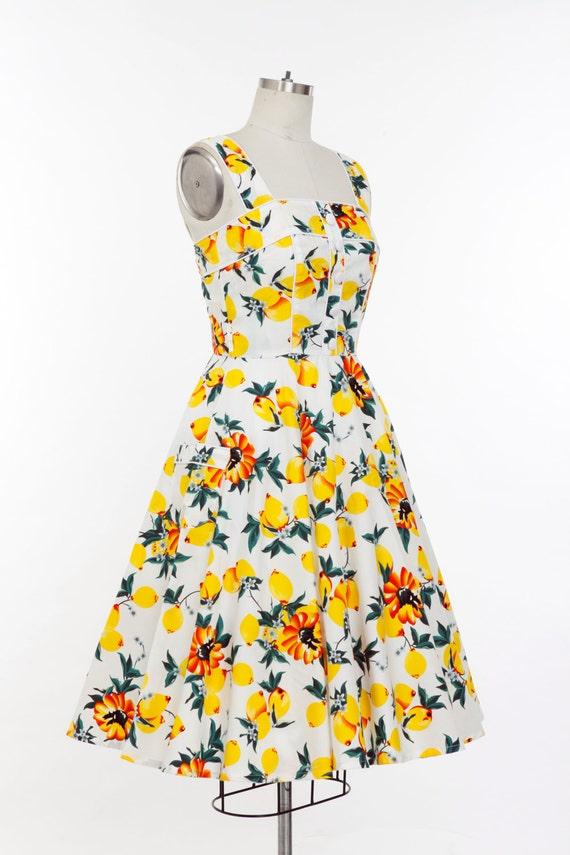 Plus Size Lemon Yellow Dress Summer Dress Vintage Dress Swing Party Dress  Retro Holiday Dress 50s Dress Rockabilly Dress