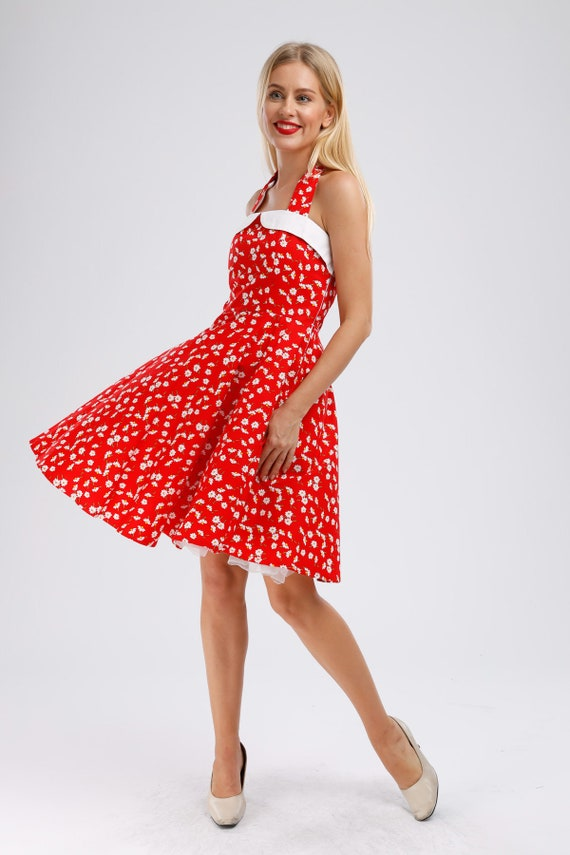 Plus Size Red Daisy Dress Floral Dress Vintage Dress 50s Dress Holiday  Dress Party Dress Sun Dress Pin Up Dress Rockabilly Retro Dress