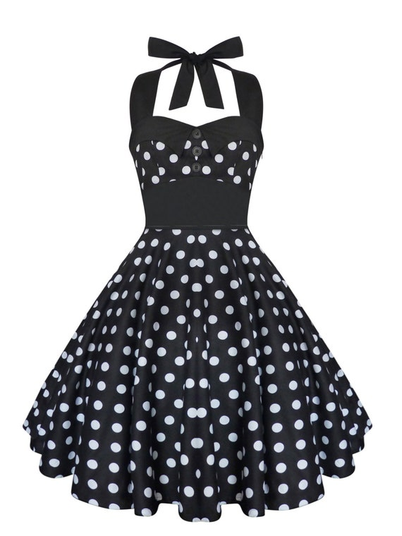 Rockabilly Dress Pin Up Dress Black Polka Dot Plus Size Dress Etsy