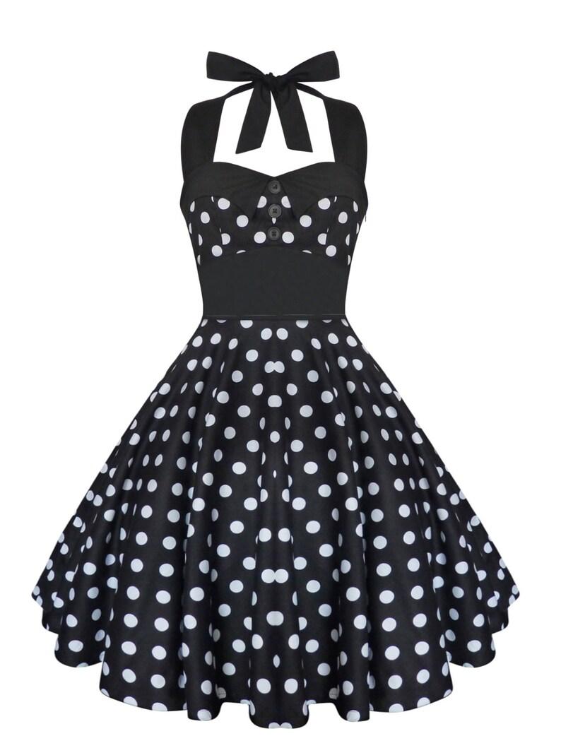 Plus Size Dress Rockabilly Dress Black Polka Dot Dress Swing Dress Pin Up  Dress Vintage 50s Dress Retro Dress Gothic Clothing Halter Dress