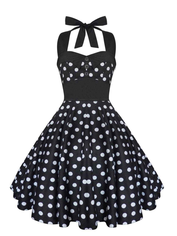 Plus Size Dress Rockabilly Dress Black Polka Dot Dress Swing   Etsy