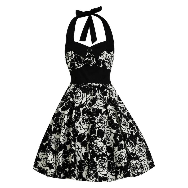 645889c4dff7c Black Rose Dress Vintage Dress Rockabilly Dress 50s Dress | Etsy