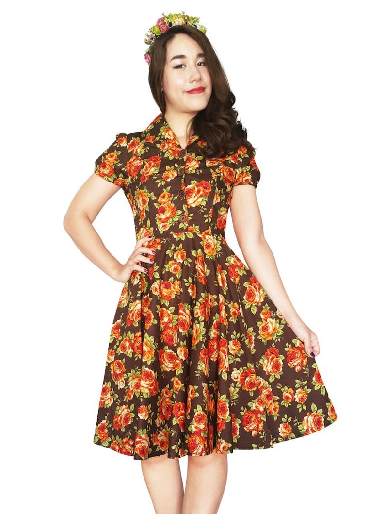 Plus Size Thanksgiving Dress 50s Dress Vintage Dress Brown Floral Dress  Holiday Dress Dress Pin Up Dress Swing Retro Tea Party Dress