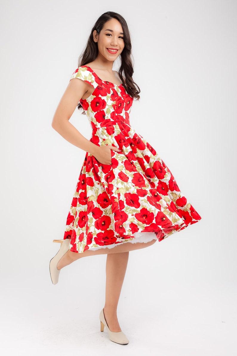 a6ae487d7d Red Poppy Dress Vintage Dress Floral Dress Summer Dress Pin Up | Etsy