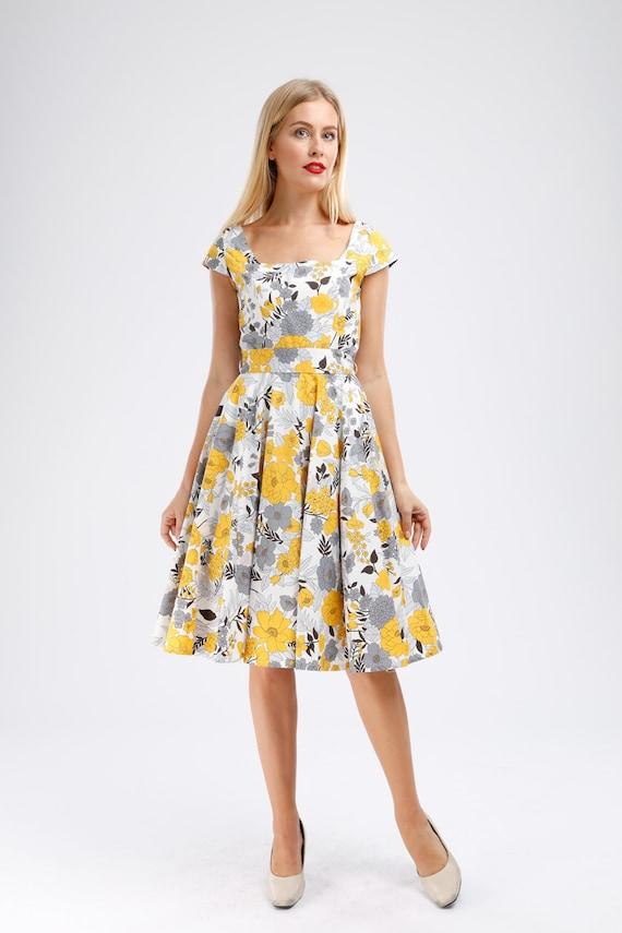 Plus Size Dress Floral Dress Yellow Dress Vintage Dress Retro Dress Holiday  Dress Party Dress Summer Dress Pinup Dress 50s Dress Swing Dress