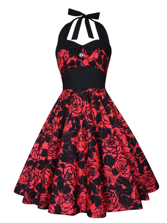 Plus Size Red and Black Dress Red Rose Dress Christmas Dress Floral Dress  Vintage Rockabilly Dress PinUp Dress 50s Swing Party Dress