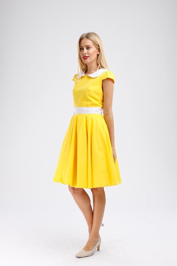 Yellow dress Bridesmaid dress Solid dress Vintage dress Country dress Hippie dress Summer dress Sundress Tea dress