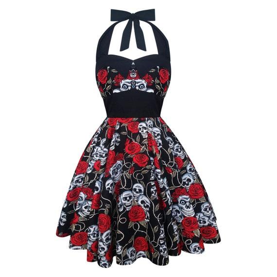 Dia De Los Muertos Day Of The Dead Dress Gothic Dress Halloween Dress Fitted Dress Skull Dress Sugar Skull Dress Pastel Goth Dress