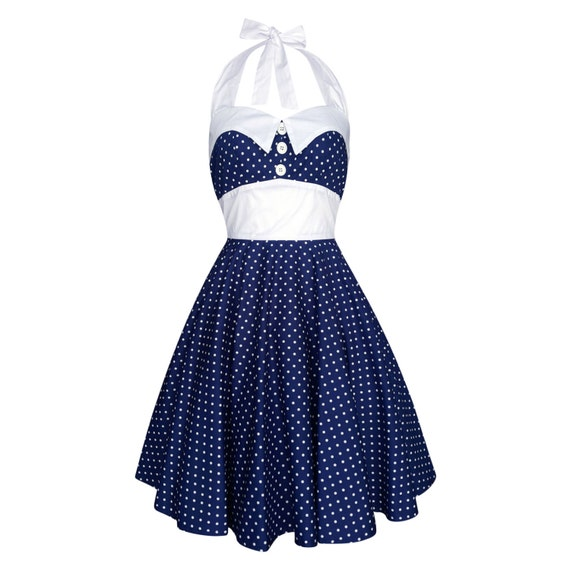 Plus Size Navy Polka Dot Dress Vintage Sailor Dress Nautical | Etsy