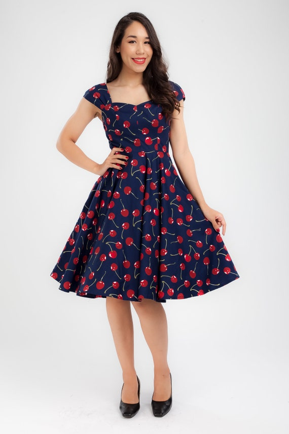Plus Size Pin Up Dress Cherry Dress Vintage Dress Summer Dress Swing Dress  Party Dress Holiday Dress 50s Dress Rockabilly Dress
