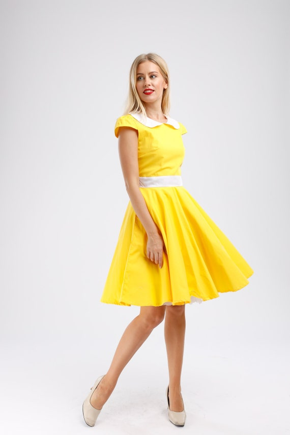 Plus Size Yellow Dress Vintage Dress Color Dress Summer Dress Rockabilly  Dress 50s Dress Retro Dress Pinup Dress Swing Dress Party Dress