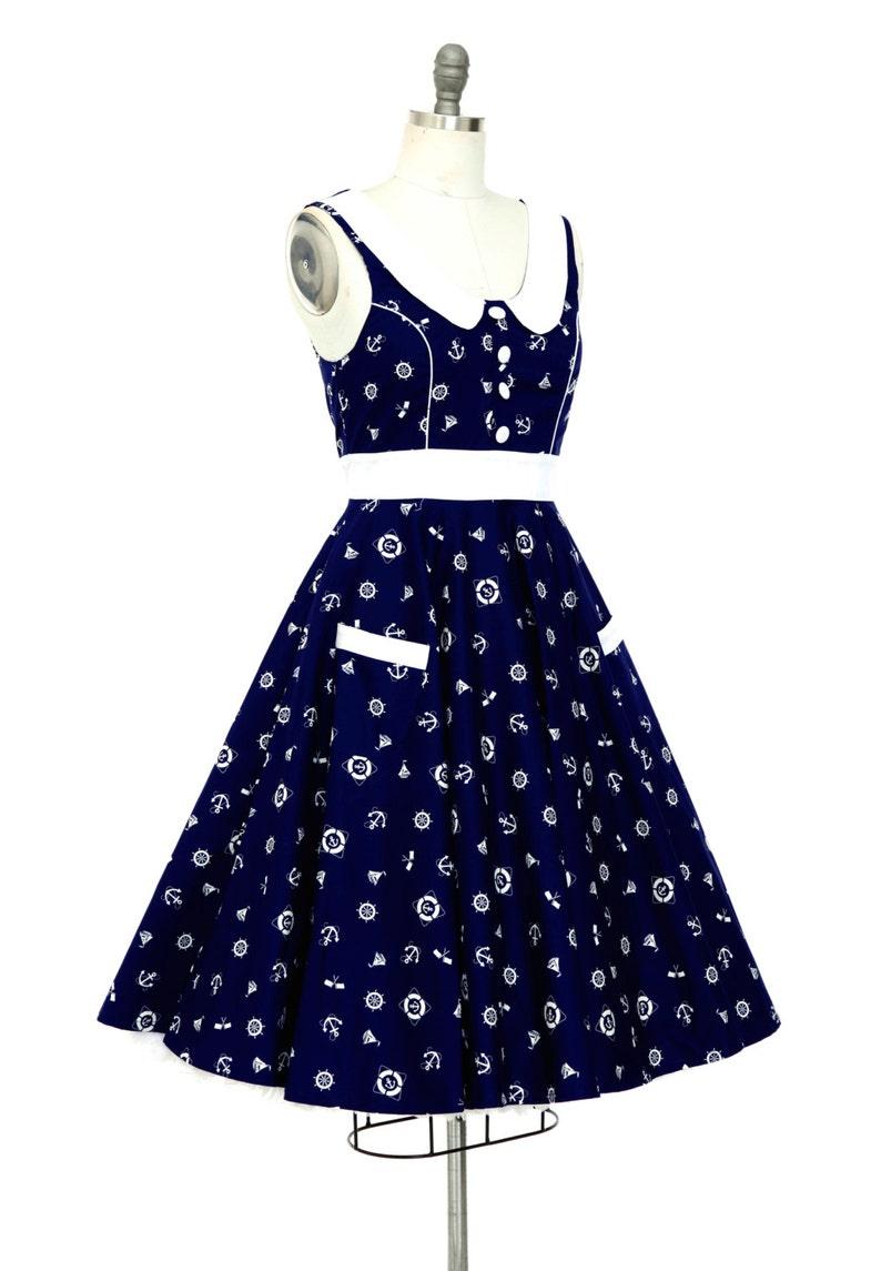 Plus Size Dress Navy Nautical Dress Sailor Dress Holiday Dress   Etsy