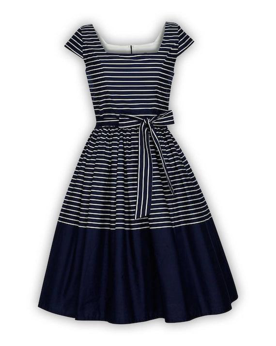 Plus Size Navy Dress Sailor Dress Nautical Dress Stripe Dress Summer Dress  Sun Dress Holiday Dress Pinup Dress 50s Swing Party Dress