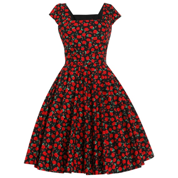 Plus Size Poppy Dress Floral Dress Christmas Dress Red Thanksgiving Dress  Party Dress 1950s Tea Dress Swing Dress Vintage Style Dress