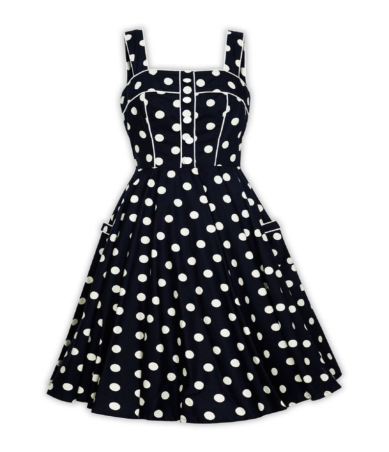 9df10caf22 Plus Size Black Polka Dot Dress Vintage Dress Summer Dress | Etsy