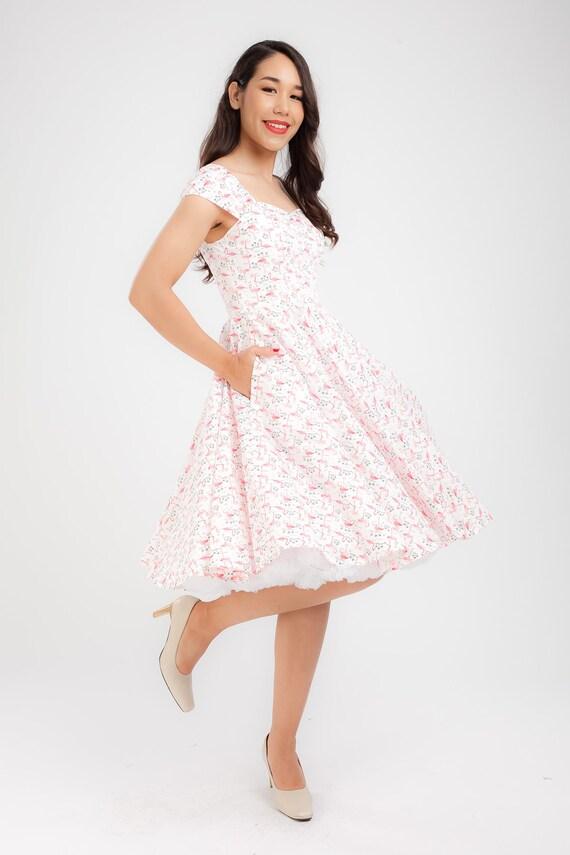 Pin Up Dress Flamingo Dress Sun Dress Summer Dress Vintage Etsy