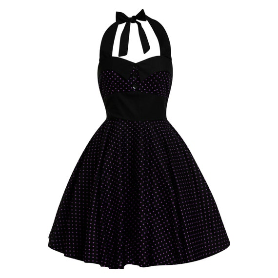 c5d31dfb25f Plus Size Black and Purple Polka Dots Dress Vintage Gothic